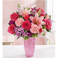 Sweetheart-Medley-in-a-Pink-Vase-by-Flowerama