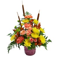 Country-Meadow-Sunshine-filled-with mix-flowers in-a-bushel-basket